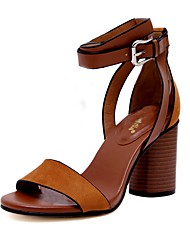 cheap -Women's Shoes Leather Spring / Summer Slingback Sandals Chunky Heel Peep Toe Buckle Black / Brown / Wedding / Party & Evening