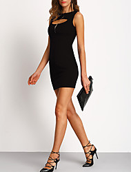cheap -Women's Party Club Holiday Sexy Street chic Bodycon Sheath Dress,Solid Crew Neck Mini Sleeveless Polyester Summer High Rise Inelastic Thin