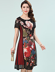 cheap -Women's Daily Plus Size Casual Sexy A Line Loose Dress,Floral Round Neck Midi Short Sleeves Polyester Summer Mid Rise Inelastic Medium