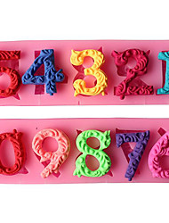 2PC/LOT Beautiful Numbers 3D Silicone Mold with Stick Hole Bakeware Dining Bar Non-Stick Cake Decorating Fondant Mold Random Color