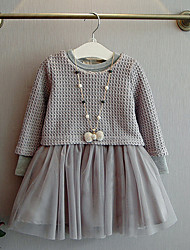 Girl's Daily Going out School Solid Dress,Cotton Polyester All Seasons Long Sleeve Ruffle Lace Gray