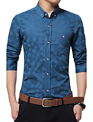 Men's New Fashion Classic Jacquard Weave Slim Fit Long Sleeve Casual Shirt/ Cotton /Polyester/Work