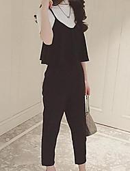 Damen einfarbig Einfach Niedlich Punk & Gothic Ausgehen Lässig/Alltäglich Arbeit T-Shirt-Ärmel Hose Anzüge,Rundhalsausschnitt