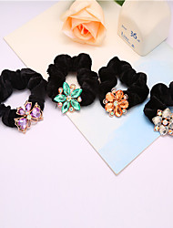 cheap -Korean Crystal Flower Flannel Hair Ring Hair Rope Ring 10pcs