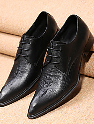 cheap -Men's Shoes Leather Spring Fall Comfort Novelty Formal Shoes Oxfords Walking Shoes Lace-up For Wedding Office & Career Party & Evening