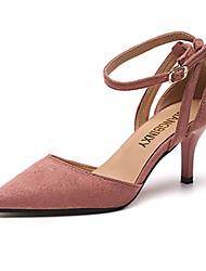 preiswerte -Damen Schuhe PU Sommer Komfort Sandalen Walking Niedriger Heel Stöckelabsatz Spitze Zehe Schnalle für Draussen Schwarz Beige Rosa