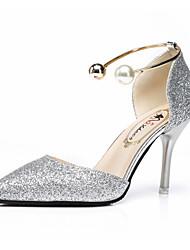 Women's Sandals Summer Comfort PU Outdoor Walking Low Heel Silver Black Gold