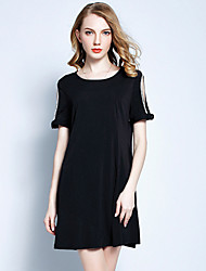 YHSP Women's Beach Plus Size Cute Casual Sophisticated A Line Loose Dress,Solid Round Neck Above Knee Short Sleeves Polyester Summer Mid Rise