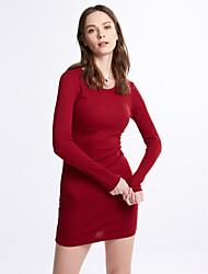 Sign 2016 Hitz European and American retro burgundy skirt Slim thin wild knit dress