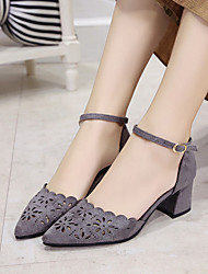 cheap -Women's Heels Spring Fall Club Shoes Comfort Suede Hollow Out Breathe Freely  Office & Career Party & Evening Dress Chunky Heel Buckle Gray Black