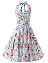 cheap -Women's Rockabilly Vintage Dress Mint Green Floral Halter Knee-length Sleeveless Cotton All Seasons Mid Rise