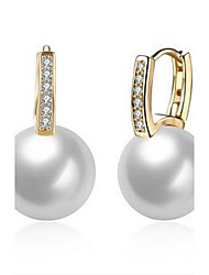 cheap -Women's Hoop Earrings Pearl Luxury Classic Fashion Euramerican Movie Jewelry Statement Jewelry USA Pearl Zircon 18K gold Jewelry