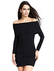 abordables -Mujer Chic de Calle Discoteca Espalda al Aire Camiseta, Escote Barco Un Color