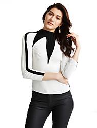 economico -Standard Pullover Da donna-Casual Semplice Monocolore Bianco Nero Girocollo Manica lunga Poliestere Autunno Inverno SpessoMedia