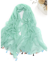 cheap -Women Scarf Cute Party Casual Rectangle White/Beige/Grey/Fuchsia/Green/Red/Black/Yellow Solid Polyester Scarves