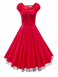 Women's Going out Party Simple Punk & Gothic Swing Dress,Solid V Neck Knee-length Short Sleeve Rayon All Seasons High Rise Inelastic