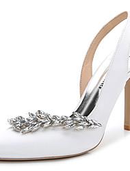 Damen-Sandalen-Hochzeit Outddor Büro Kleid Lässig Party & Festivität-Seide-Stöckelabsatz-Fersenriemen Club-Schuhe-Weiß Rosa Königsblau