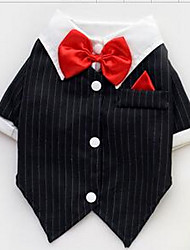 cheap Toys & Hobbies-Dog Shirt / T-Shirt Dog Clothes Stripe Black Cotton Costume For Pets Men's / Women's Casual / Daily / Fashion