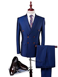 cheap -Blue Solid Slim Fit Polyester Viscose Suit - Peak Single Breasted Four-buttons