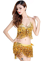 cheap -Belly Dance Outfits Women's Performance Sequined Tassel(s) 2 Pieces Sleeveless Natural Top Skirt