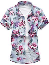 baratos -Homens Camisa Social - Praia Activo Flor, Floral Algodão