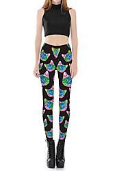 Women's Sporty Look Mid Rise Micro-elastic Chinos Pants,Sexy Cute Skinny Floral Print