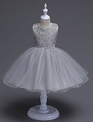 A-Line Knee Length Flower Girl Dress - Organza Sleeveless Jewel Neck with Bow(s) Lace by likestar