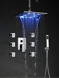 cheap -Art Deco/Retro Tub And Shower Waterfall Rain Shower LED Ceramic Valve Single Handle One Hole Chrome, Shower Faucet