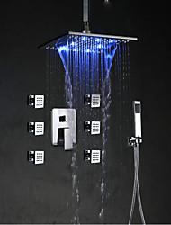preiswerte -Art déco/Retro Badewanne & Dusche Wasserfall Regendusche LED Keramisches Ventil Einhand Ein Loch Chrom, Duscharmaturen