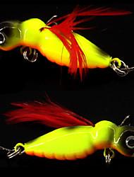 2 pcs Otros Herramientas de la pesca Cebos Anzuelo de cabeza de plomo Blanco Rojo Anzuelo amarillo Lomo cromado en dorado g/Onza,45 mm/