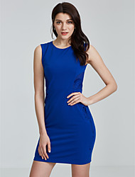 Formal Simple Tunic Dress,Solid Round Neck Knee-length Sleeveless Others Blue Fall High Rise Micro-elastic