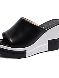 cheap -Women's Shoes PU(Polyurethane) Summer Creepers / Comfort Heels Wedge Heel Open Toe Buckle White / Black
