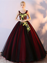 Ball Gown Scoop Neck Floor Length Tulle Satin Chiffon Formal Evening Dress with Embroidery
