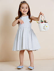 A-Line Knee Length Flower Girl Dress - Cotton Sleeveless Jewel Neck with Draping by thstylee