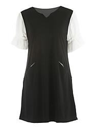 abordables -Mujer Línea A Vestido Diario Casual,Un Color Escote en Pico Sobre la rodilla Manga Corta Poliéster Otoño Tiro Medio Microelástico Medio