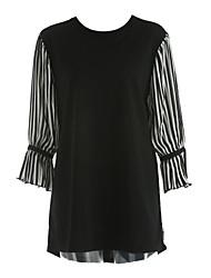billige -Dame Plusstørrelser T Shirt Kjole - Stribet Over knæet