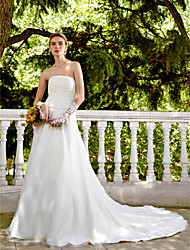cheap -A-Line Strapless Chapel Train Satin Tulle Wedding Dress with Beading Sash / Ribbon Button Flower Ruche by LAN TING BRIDE®