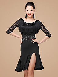 Shall We Latin Dance Dresses Women Polyester Rhinestones Lace Ruffles 2 Pieces