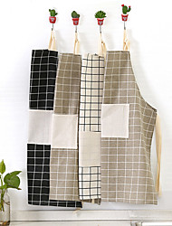 Nordic Style Cotton Check Plain Lattice Apron (Random Colors)