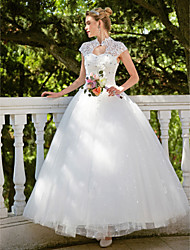 cheap -Ball Gown High Neck Floor Length Lace Tulle Wedding Dress with Beading Appliques by Embroidered Bridal