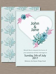 Carte plate Invitations de mariage Cartes d'invitation Style artistique Style floral Papier nacre