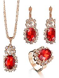 abordables -Mujer Los sistemas nupciales de la joyería Anillo Collar / pendientes Cristal Lujo Circular Diamantes Sintéticos Moda Ajustable Nupcial