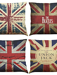 Set of 4 Retro British flag Pattern  Linen Pillowcase Sofa Home Decor Cushion Cover