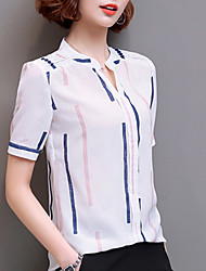 cheap -Women's Boho Silk Cotton Blouse - Striped