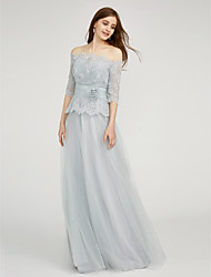 cheap -A-Line Bateau Neck Floor Length Chiffon / Lace Bridesmaid Dress with Lace / Sash / Ribbon / Flower by LAN TING BRIDE® / Two Piece