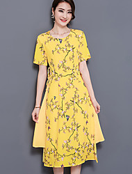 Women's Plus Size Casual/Daily Vintage Swing Dress,Print Round Neck Midi Short Sleeve Nylon Summer Mid Rise Micro-elastic Medium