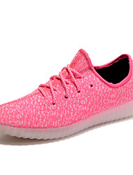 cheap -Women's Sneakers Light Soles Light Up Shoes Couple Shoes Tulle Spring Summer Athletic Casual Outdoor Walking Lace-up Flat HeelBlushing