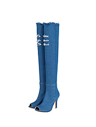 cheap -Women's Heels Spring Fall Comfort Fabric Office & Career Dress Stiletto Heel Light Blue Blue Dark Blue Black