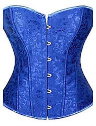 Women Overbust Corset NightwearSexy / Push-Up Print-Medium Cotton Blue Women's corset