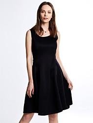 Trapèze Robe Femme Soirée / Cocktail Vintage,Couleur Pleine Col en U Mi-long Sans Manches Blanc Noir Eté Micro-élastique Moyen